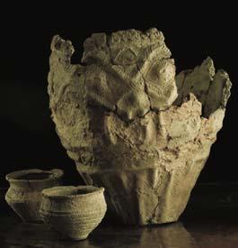 encrusted urns
